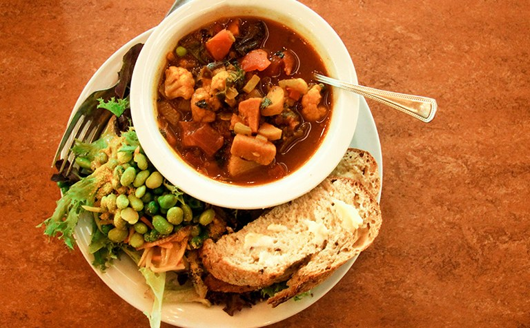 Delicious, locally-sourced soup and salad lunch served at the North Cascades Environmental Learning Center Campus